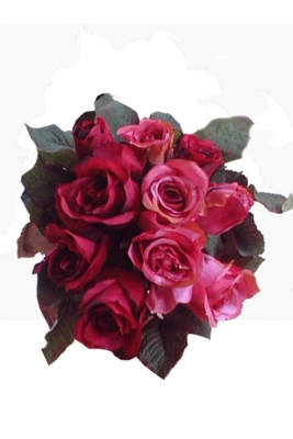 Rose bunch deep red Artificial Flower Arrangement