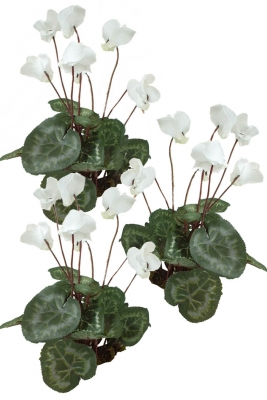 Cyclamen white 3 Artificial Flower Arrangement