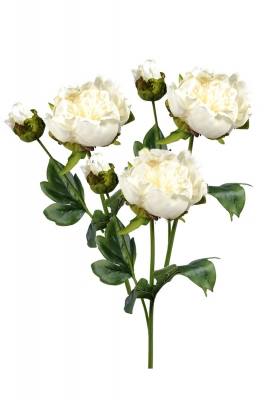 Peonies White 3 Artificial Flower Arrangement