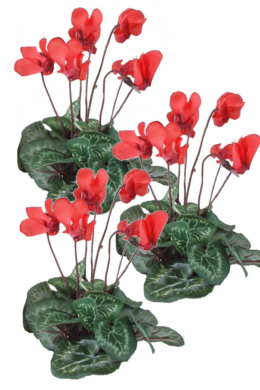 Cyclamen Red 3 Silk Flowers Artificial Arrangements Pene Dene